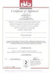 BVQI Certificate