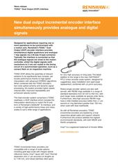 News release:  New dual output incremental encoder interface simultaneously provides analogue and digital signals