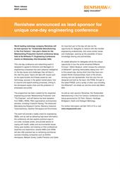 Press release: Renishaw announced as lead sponsor for unique one-day manufacturing conference