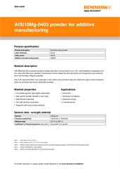 Data sheet: AlSi10Mg-0403 (400 W) powder for additive manufacturing