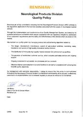 Neurological Product Division Quality Policy