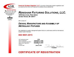 Product quality statement:  Certificate -  Renishaw US RMFS 4784 - ISO 9001