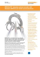 Data sheet: RESOLUTE™ absolute optical encoder with Siemens DRIVE-CLiQ serial communications