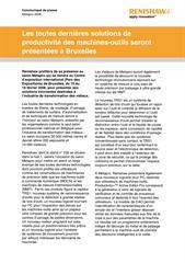 Communiqué de presse: Les toutes dernières solutions de productivité des machines-outils seront présentées à Bruxelles