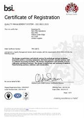 Product quality statement:  Certificate - Renishaw UK FM10671 - ISO9001
