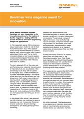 Press release: Renishaw wins magazine award for innovation