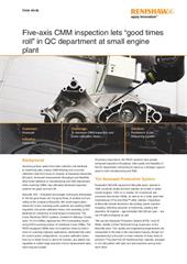 """Case study: Kawasaki - Five-axis CMM inspection lets """"good times roll"""" in QC department at small engine plant"""