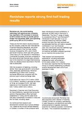 News release:  Renishaw reports strong first-half trading results