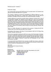 Announcement: Directorate change 25-07-2018