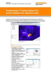 Data sheet:  Productivity+™ Active Editor Pro probing software for machine tools