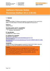 Software release note: Ballbar 20 (V5.09.09)