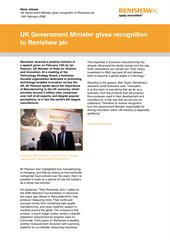 News release:  UK Government Minister gives recognition to Renishaw plc