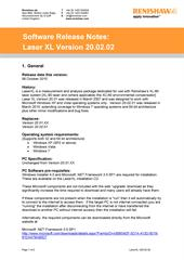 Software release note: LaserXL Version 20.02.02