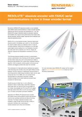 News release:  RESOLUTE™ absolute encoder with FANUC serial communications is now in linear encoder format