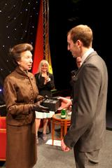 Tom Silvey, Apprentice of the Year, receiving award from Princess Anne (image courtesy Gloucestershire Media)