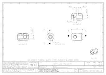 Technical drawing:  M-2008-0378 Stylus holder