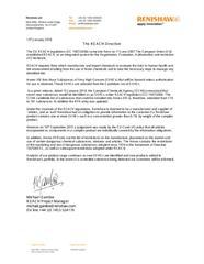 REACH Directive: Renishaw Positional Statement