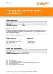 Data sheet: AlSi10Mg-0403 (200 W) powder for additive manufacturing