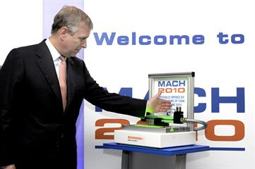 HRH The Duke of York opens MACH 2010 with Renishaw NC4 laser tool setter