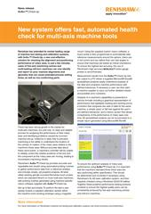 News release:  New system offers fast, automated health check for multi-axis machine tools