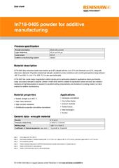 Data sheet: In718-0405 powder for additive manufacturing