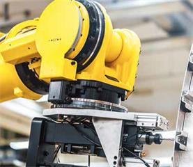 FANUC robotic arm with RESOLUTE absolute rotary encoders on