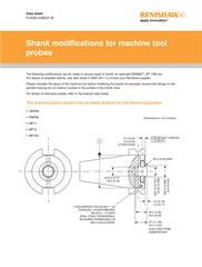 Shank modifications for machine tool probes data sheet