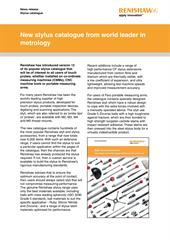 Press release: New stylus catalogue from world leader in metrology