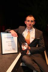 Tom Silvey, Apprentice of the Year, with his award (image courtesy Gloucestershire Media)