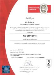 Product quality statement:  Certificate - Renishaw Slovenia RLS SL22887Q - ISO 9001