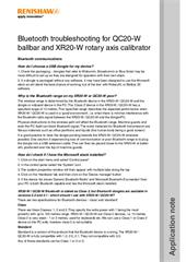 Application note:  Bluetooth troubleshooting for QC20-W ballbar and XR20-W rotary axis calibrator