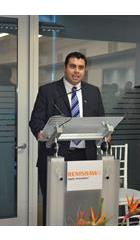 Alejandro Silva speaking at the opening of Renishaw Mexico