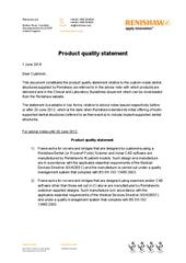Product quality statement
